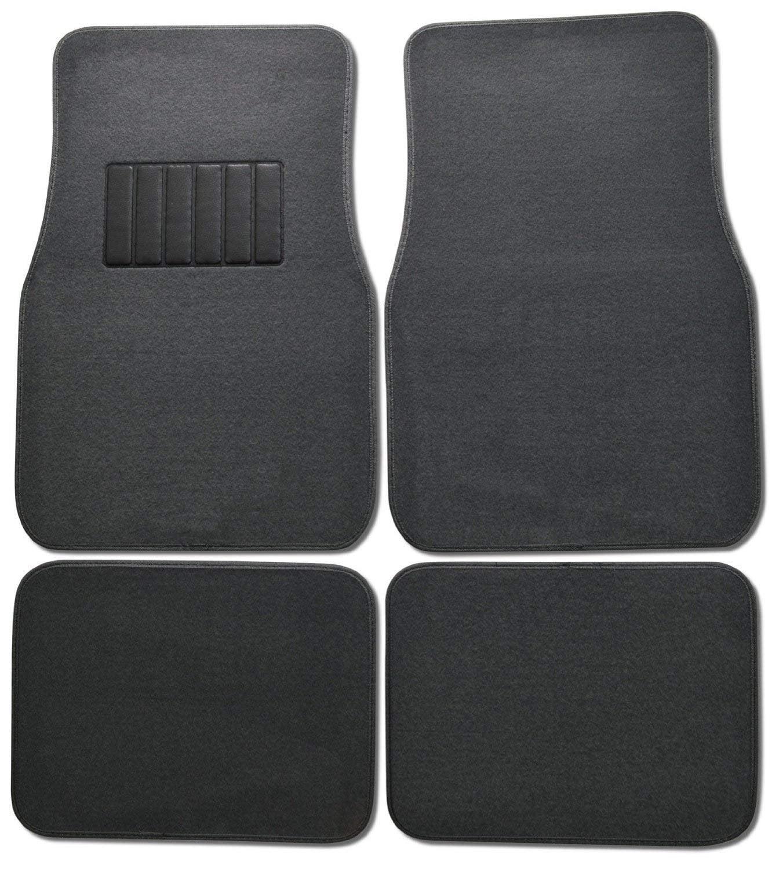 Premium Carpet 4PC Front & Rear Driver Passenger Floor Mats Cars Trucks Sedans SUVs (Charcoal)