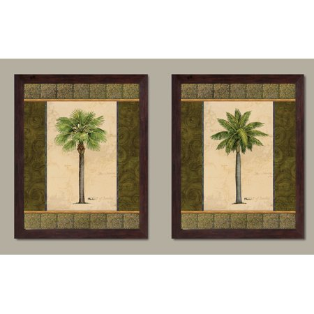 2 East Indies Palm Tree Tropical Set; Two 11x14in Brown Framed Prints. Green/Brown ()