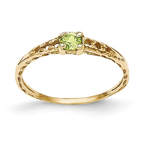 14k Yellow Gold 3mm Peridot Birthstone Baby Ring. by Jewelrypot