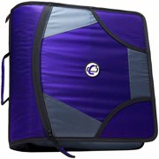 "Case It 4"" D-Ring Zipper Binder with Backpack Straps, Purple, D-186-BB"