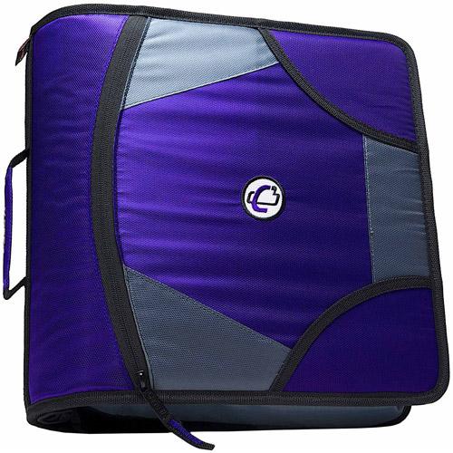 Case-It King Sized Zip Tab 4-Inch D-Ring Zipper Binder, Purple, D-186-PU