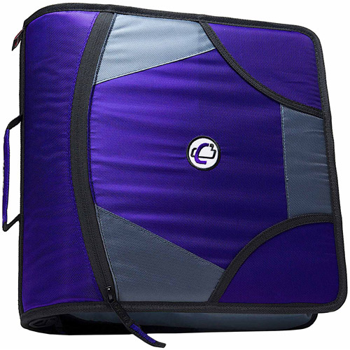 Case-It King Sized Zip Tab 4-Inch D-Ring Zipper Binder, Purple, D-186-PU