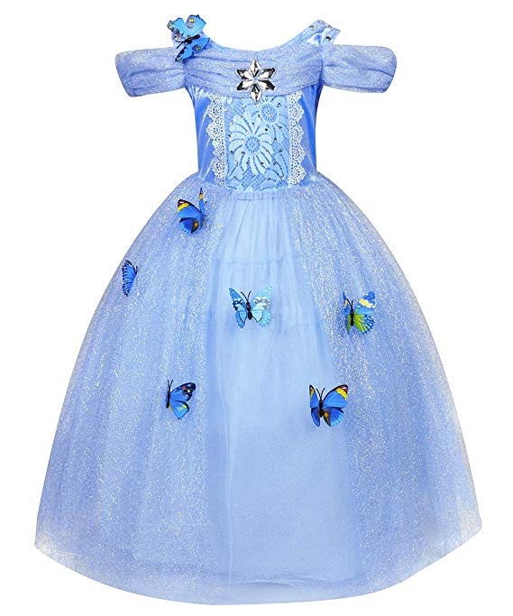 Princess Dresses Girls Costumes Birthday Party Halloween Costume Cosplay Dress up for Little Girls 3-12 Years