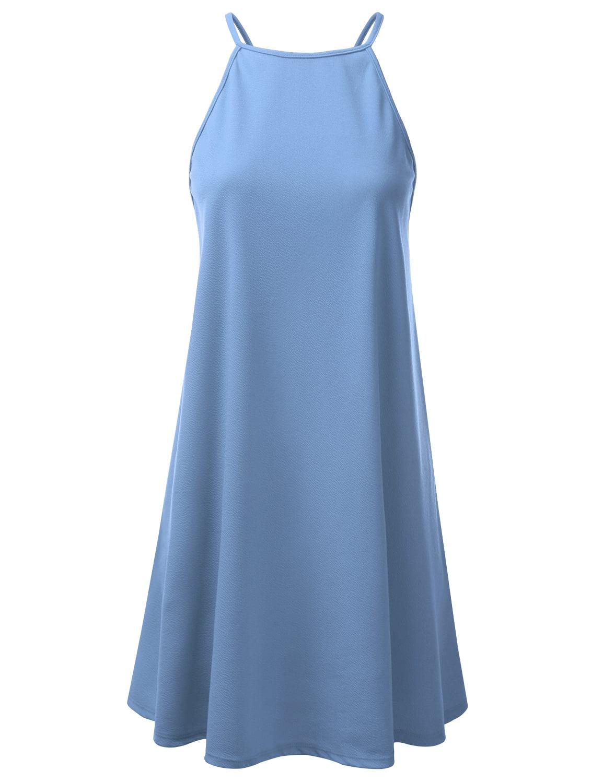 FashionOutfit Women/'s Soft Stretch Strap Halter Asymmetrical Striped Long Dress