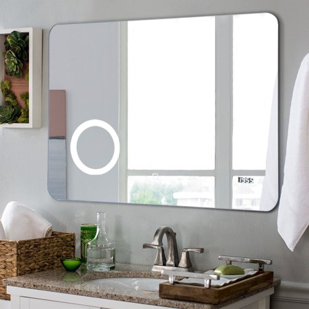 GHP Wall-Mounted Vertically Hanging White LED Bathroom Mirror with Touch  Button