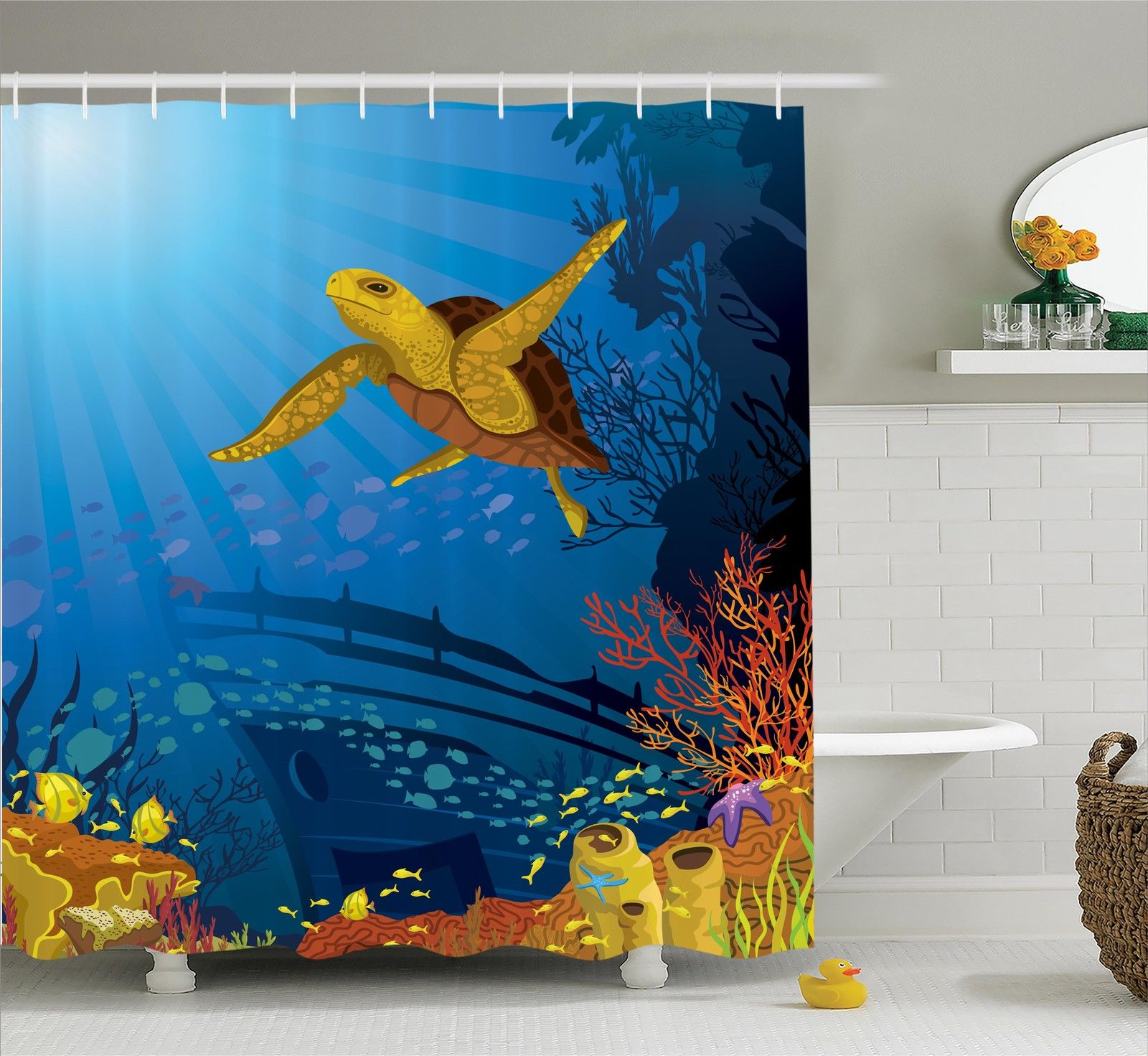 Ocean Decor  Colored Coral Reef With Silhouette School Of...