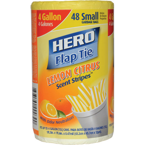 (Pack of 4) Hero Scent Stripes Small Flap Tie Garbage Bags, Lemon Citrus, 4 Gallon, 48 Count