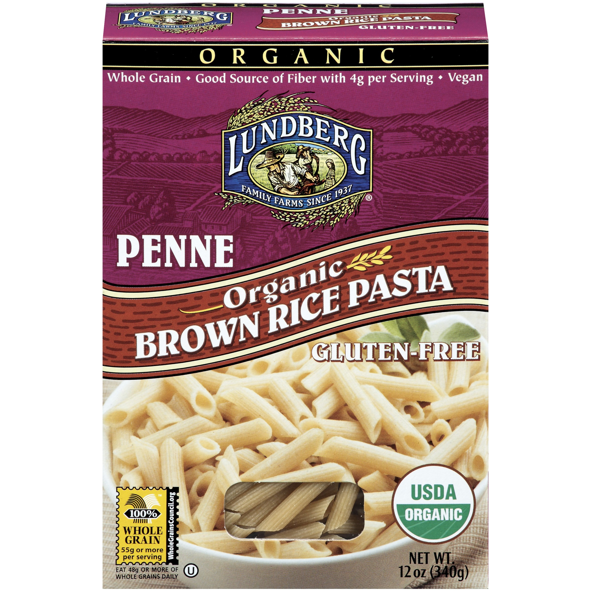 Lundberg Organic Brown Rice Pasta Penne 12 Oz - Vegan