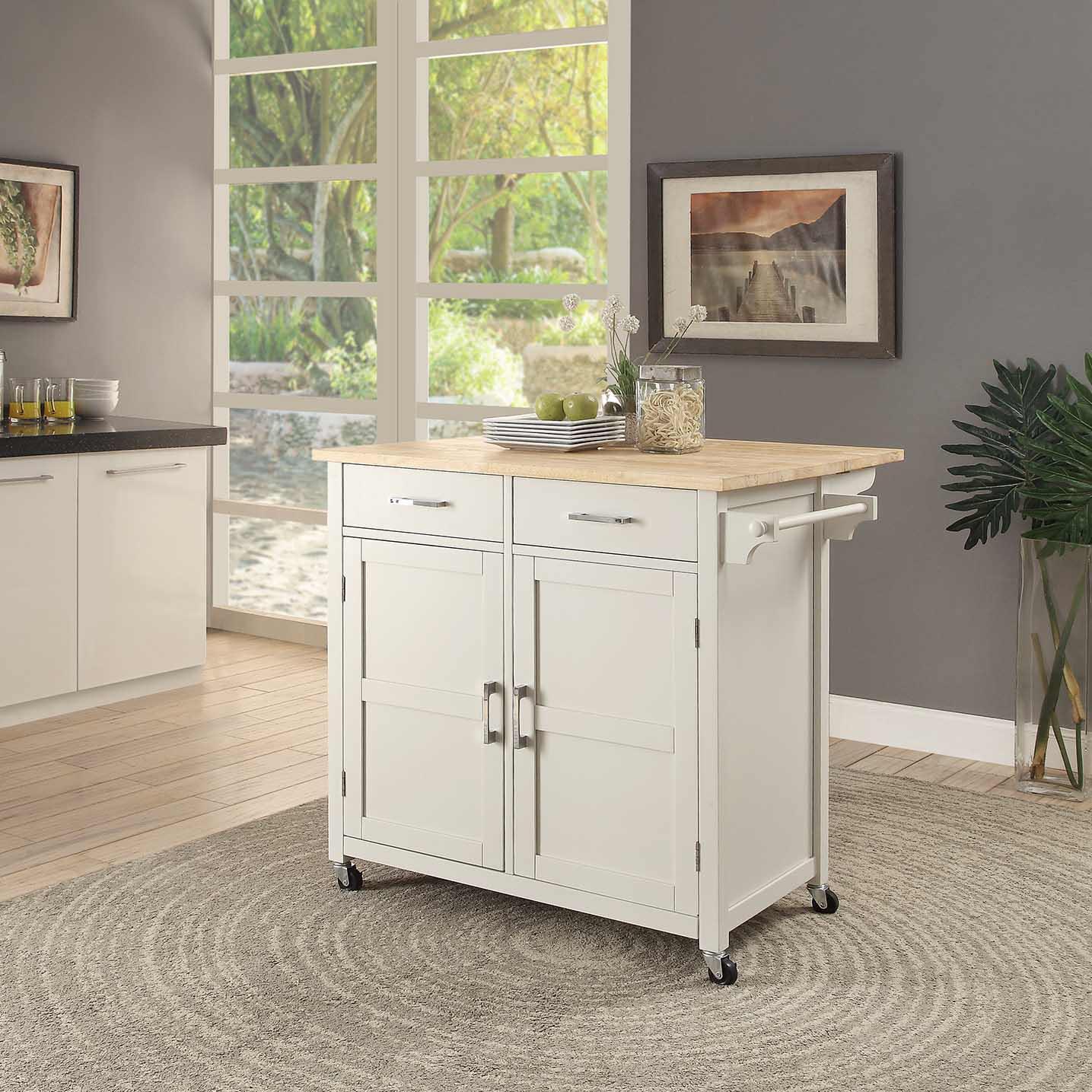Kitchen Trolley Designs Colors: Macie Kitchen Cart White-Color:Polar White,Quantity:1
