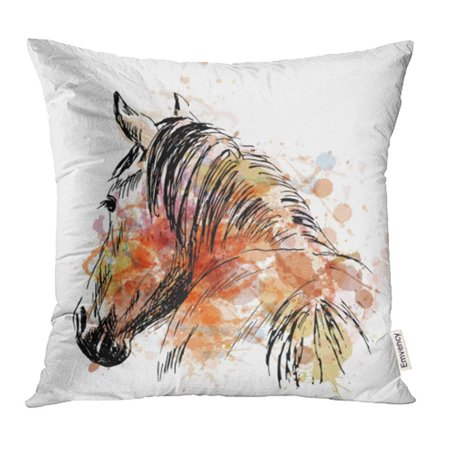 - ARHOME Watercolor Arabian Colored Hand Sketch Horses Behind Love Outline Sign Abstract Pillow Case Pillow Cover 18x18 inch Throw Pillow Covers