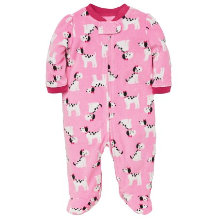 Dalmatian Onesie Kids (Baby Pajamas Winter Fleece Sleepers Blanket Sleeper With Feet Footie Dalmatian Dog Pink 12)