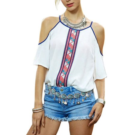 Sweetsmile Women Summer Casual Shirt Boho White Cut Off Shoulder Tops Blouse L Size Clearance