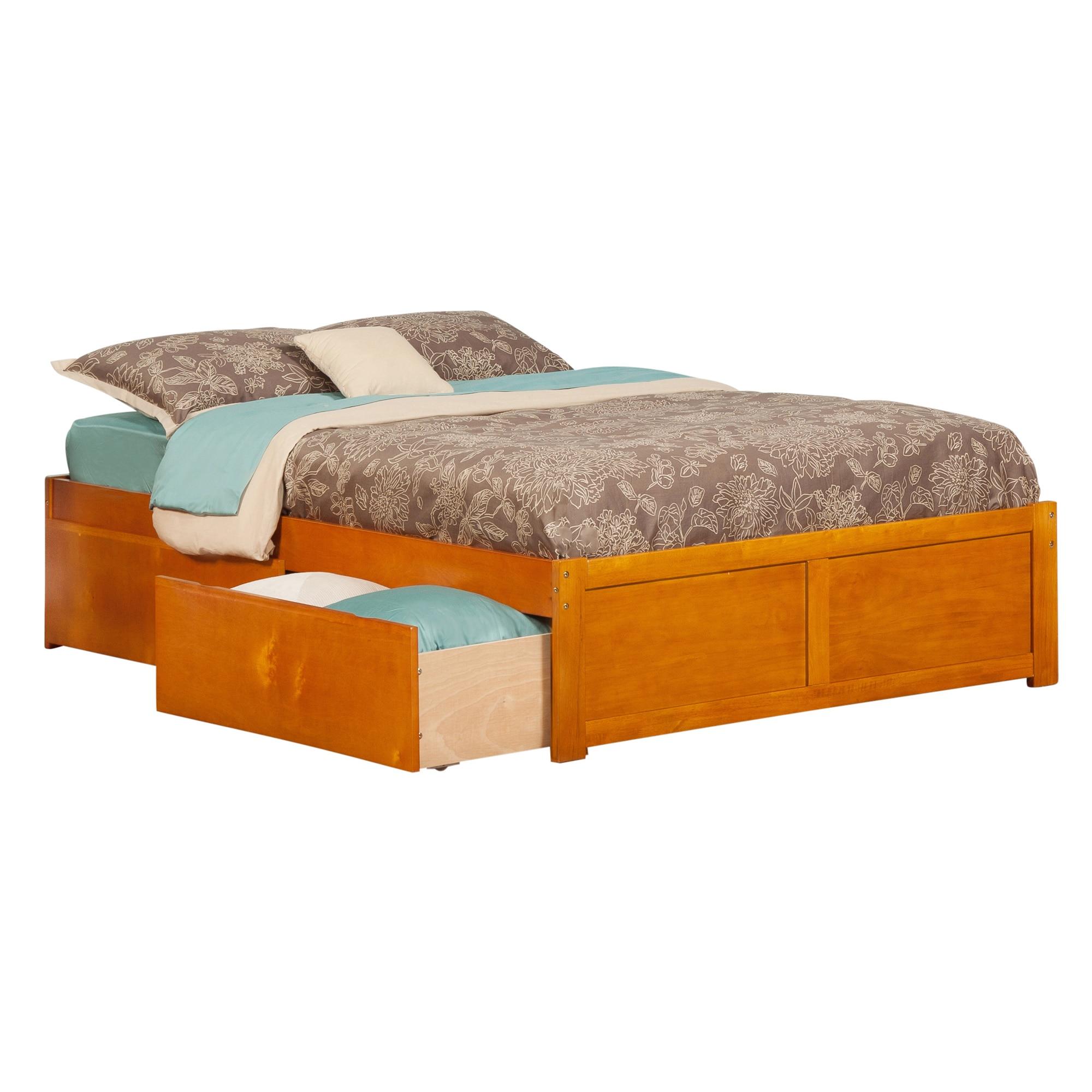 Atlantic Furniture Concord Caramel Latte Full Flat Panel Foot Board With 2 Urban Bed Drawers