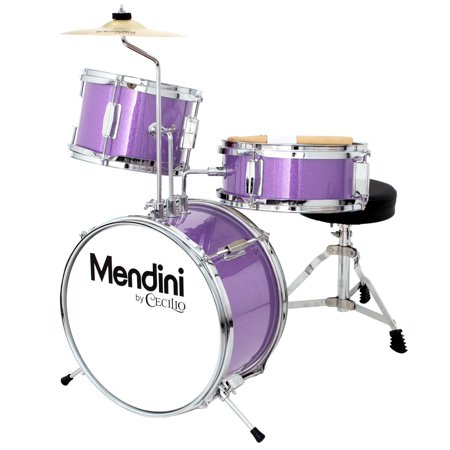 Mendini by Cecilio 13 Inch 3-Piece Kids / Junior Drum Set with Adjustable Throne, Cymbal, Pedal & Drumsticks, Metallic Purple,