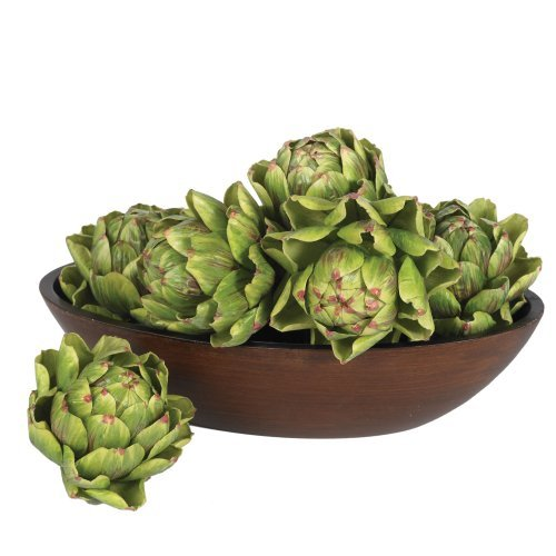 Nearly Natural 4686 Artichoke Artificial Flower, 5-Inch, Green, Set of 6