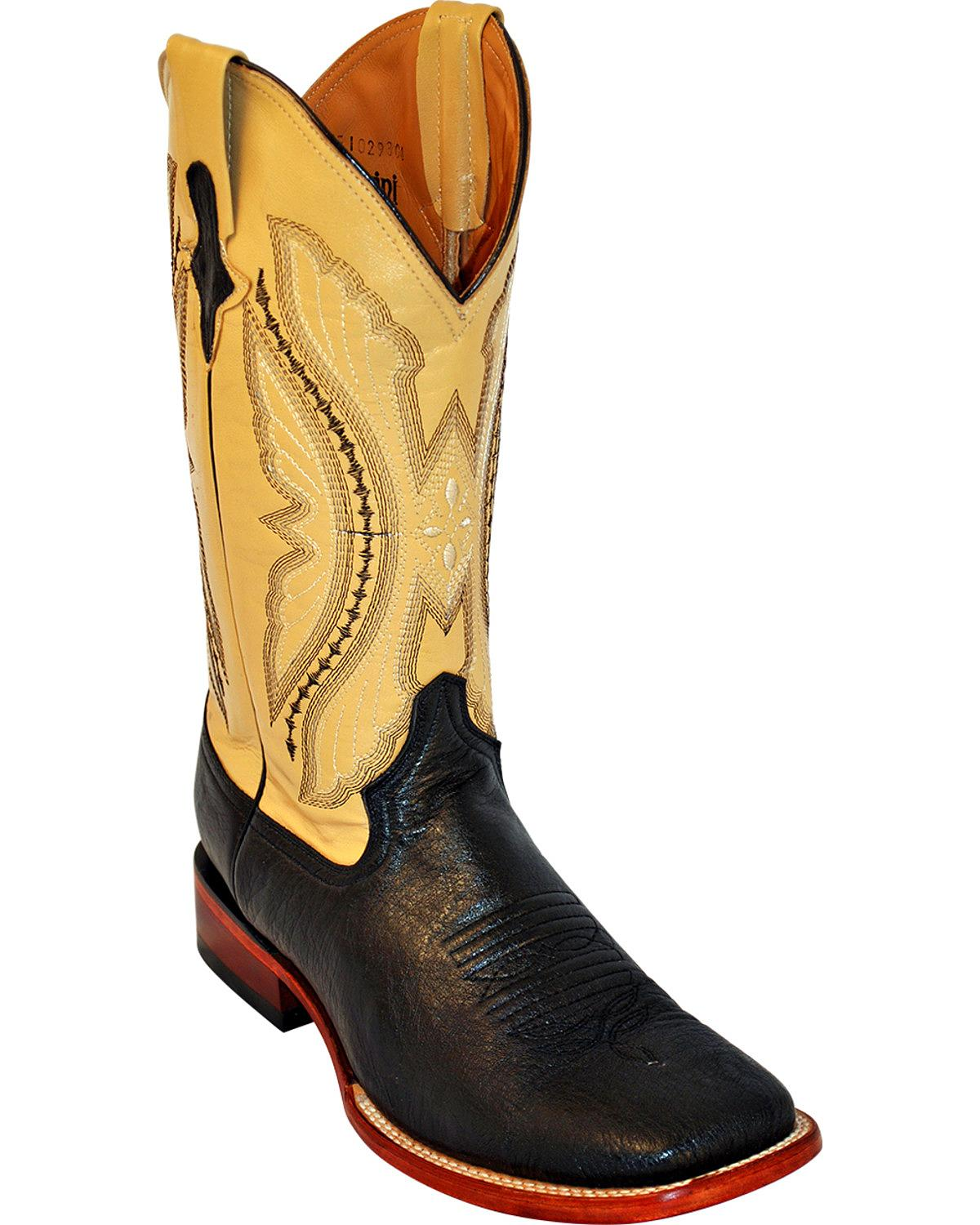 Ferrini Men's Smooth Quill Ostrich Exotic Boot Square Toe 1029309 by Ferrini