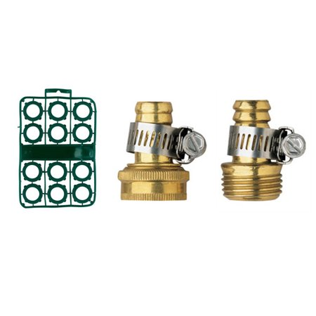 Orbit 5/8 Inch Brass Hose Repair bundle with Male and Female (Hose Mender Coupling)