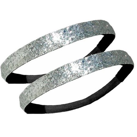 2 PACK: Activewear Apparel Glitter Headbands Multiple Colors Available (2 - Silver) (Head Band Usa)