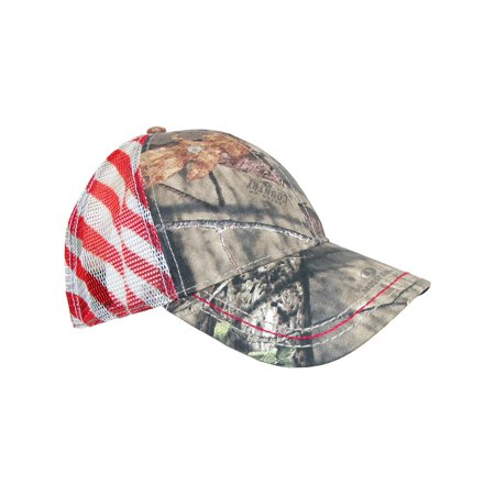 Poly Mesh Cap - Size one size Camo Baseball Cap with Mesh American Flag Back, Multi