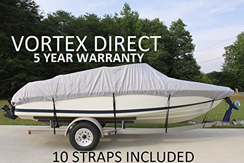 VORTEX HEAVY DUTY VHULL FISH SKI RUNABOUT COVER FOR 17 18 19' BOAT, BEST AVAILABLE COVER GRAY GREY by Vortex