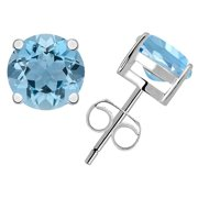 925 Sterling Silver Blue 0.5 Cts March Birthstone Aquamarine Stud Earring 4 mm