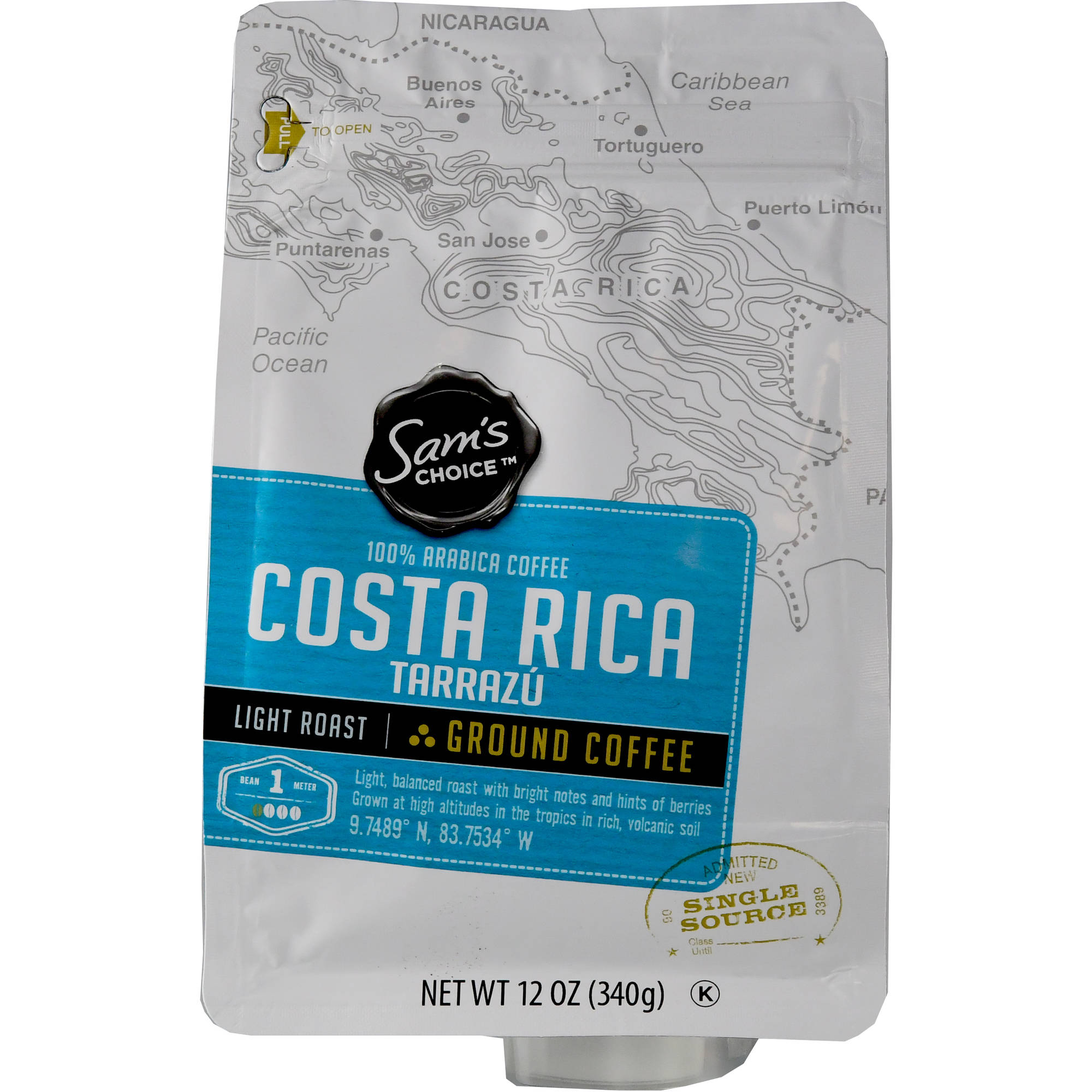 Sam's Choice Costa Rica Tarrazu Ground Coffee, Light Roast, 12 oz