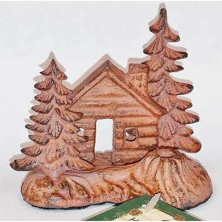 metal brass 3-D log cabin & trees Incense Burner Holder stick brown by Paine's, Cute metal incense stick burner/holder by Paine's. By (Log Cabin Decor)