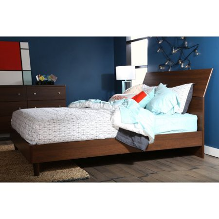 South Shore Olly Mid Century Modern Queen Platform Bed With Headboard