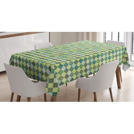 Plaid Tablecloth, Traditional Argyle Pattern in Pastel Green Tones Checkered Striped Classical Design, Rectangular Table Cover for Dining Room Kitchen, 60 X 84 Inches, Multicolor, by - Checkered Table Covers
