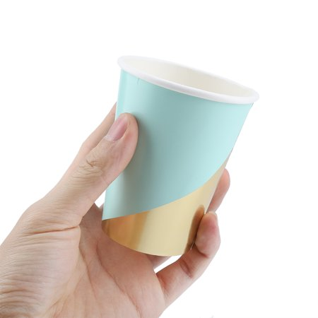 Cergrey Gold Mint Green Party Paper Plates Cups Disposable ...