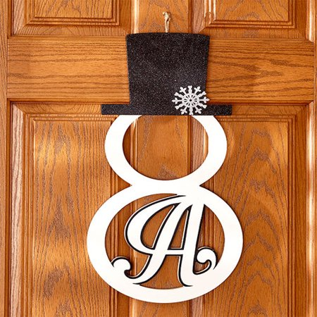 Snowman Monogram Door Hanger Wall Art Holiday Christmas Winter Decor Letter A ()