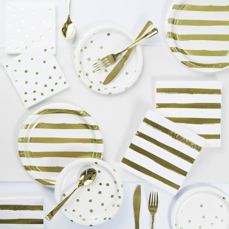 White and Gold Foil Party Supplies Kit (Party Suplies)