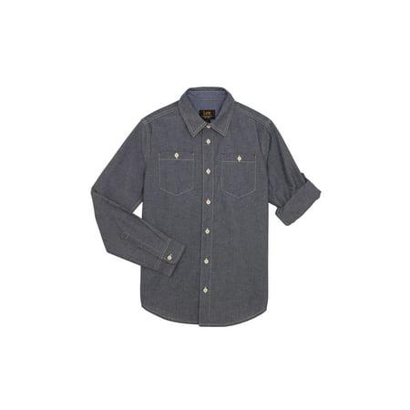 Lee Long Sleeve Chambray Button Up Shirt (Big Boy)