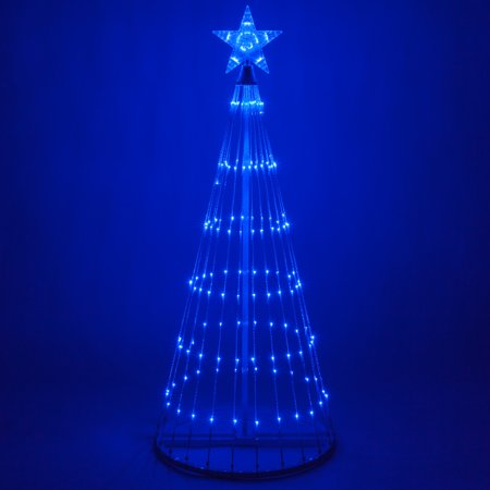 Led Outdoor Christmas Lights.Wintergreen Lighting 4 Blue Outdoor Christmas Light Show Cone Tree 14 Function Led Outdoor Christmas Decoration
