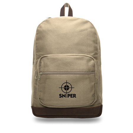 Snipers Scope Canvas Teardrop Backpack with Leather Bottom Accents, Khaki & (Best Sniper Drag Bag)
