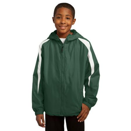 Sport-Tek® Youth Fleece-Lined Colorblock Jacket. Yst81 Forest Green/White S - image 1 de 1