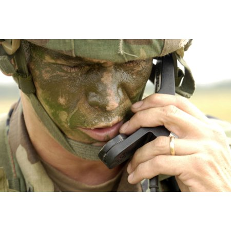 August 21 2006 - Army Master Sergeant communicates his location to higher headquarters during a joint forcible entry exercise with the Air Force on the East Coast Poster Print