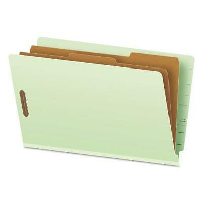 Pressboard End Tab Folders, Legal, 2 Dividers/6 Section, Pale Green, 10/Box