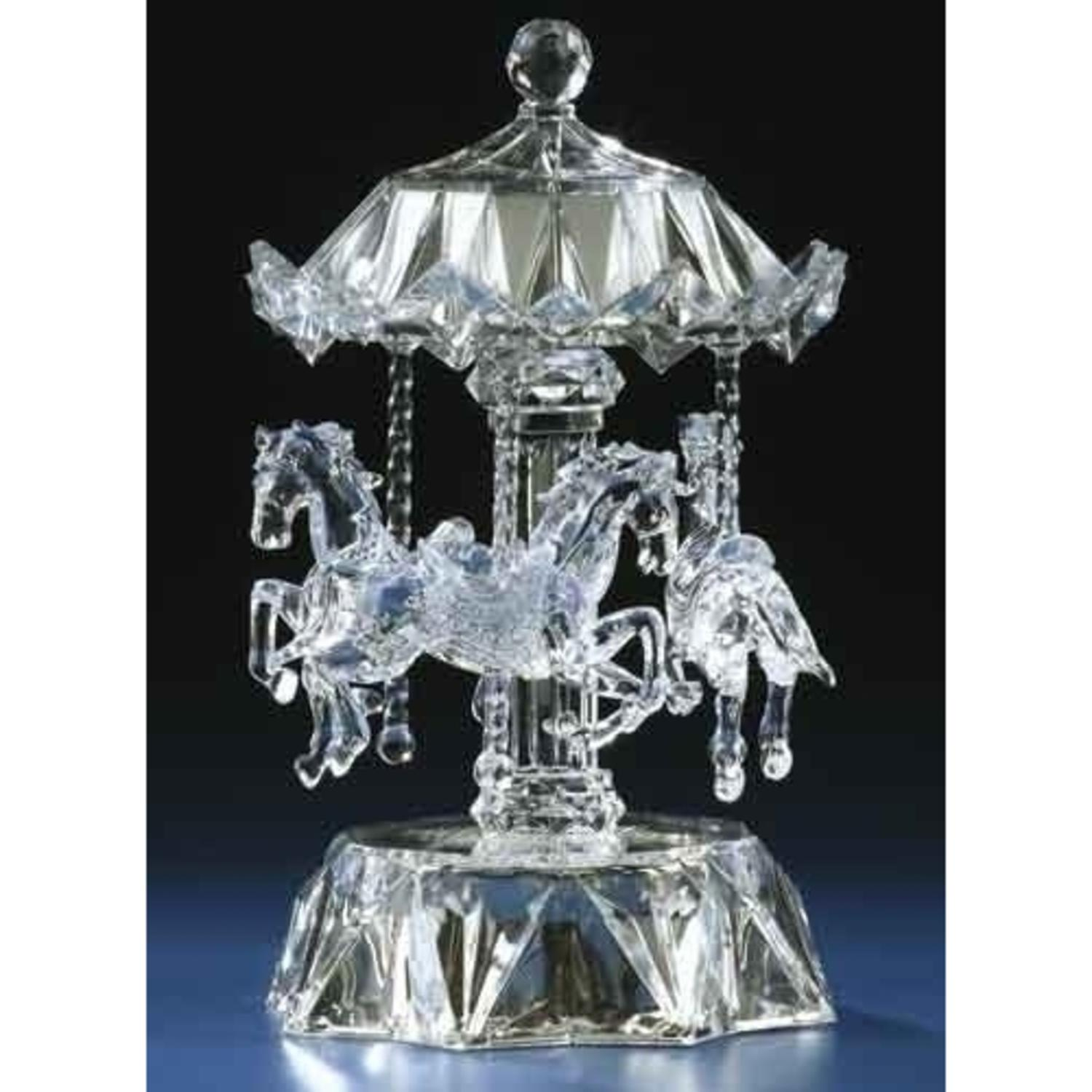 Icy Crystal LED Lighted Love Makes the World Go Round Musical Animated Carousel