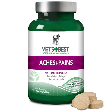 Vet's Best Aspirin Free Aches + Pains Dog Supplement | Vet Formulated for Dog Pain Support and Joint Relief | 50 Chewable (Best Dog Coat Supplement)