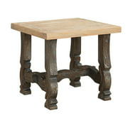 Emerald Home Barcelona Rustic Pine and Dark Brown End Table with Plank Style Top And Carved Base