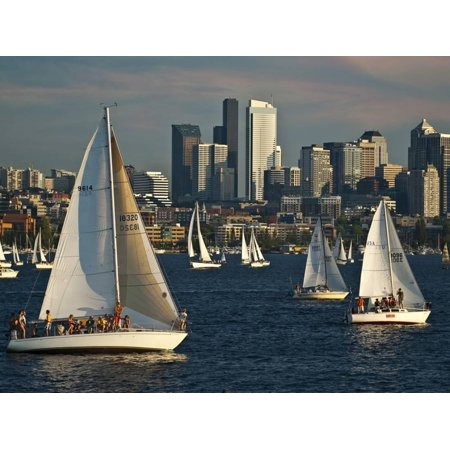 Sailboats Race on Lake Union under City Skyline, Seattle, Washington, Usa Print Wall Art By Charles Crust](Halloween Boat Cruise Seattle)