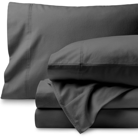 Bare Home 100% Cotton Velvet Flannel Sheet Set - Extra Soft Heavyweight - Double Brushed Flannel - Deep Pocket (Queen, Gray)