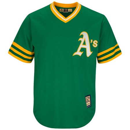 Oakland Athletics Cooperstown Majestic Cool Base Retro Green Jersey by