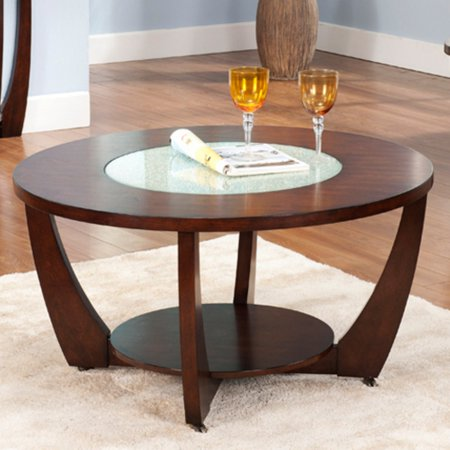 Steve Silver Rafael Round Cherry Wood And Glass Coffee Table