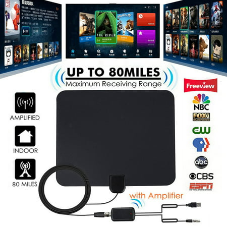 [Latest 2019] HD Digital Indoor TV Antenna, 80 Miles Range Amplified HDTV Antenna 4K VHF UHF 1080P Freeview Local Channels High Gain Channels Reception w/ Amplifier Signal Booster & 13FT Coax Cable