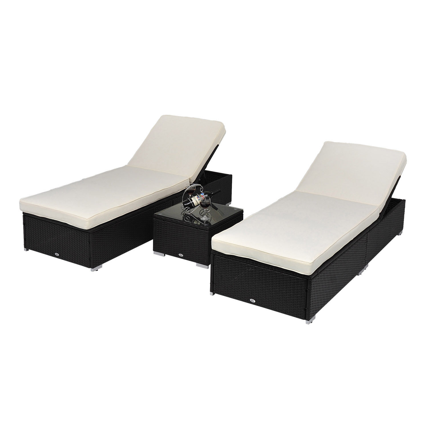 Outsunny 3 Piece Rattan Wicker Outdoor Patio Chaise Lounge Chair Set W/  Side Table