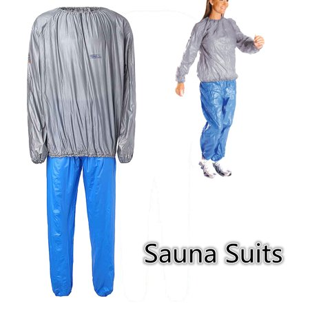 New Uni Silver Sauna Suit Heavy Duty Sweat Exercise Gym Fitness Weight Loss Anti Rip