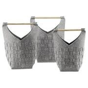San Pacific International Crosshatch Gray Basket with Wood Handle - Set of 3