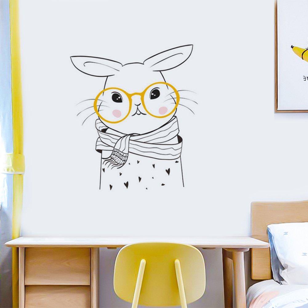 Comaie Creative Cartoon Animal Bear Rabbit Wall Stickers Black And White Simple Painting Children Bedroom Kitchen Closet Room Door Decoration Walmart Canada